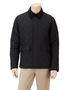 Izod Black Puffer & Quilted Jackets