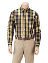Dockers® Folded Navy & Yellow Plaid Woven Shirt
