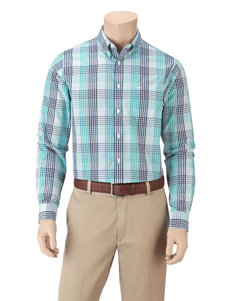 Dockers Light Blue Plaid Casual Button Down Shirts