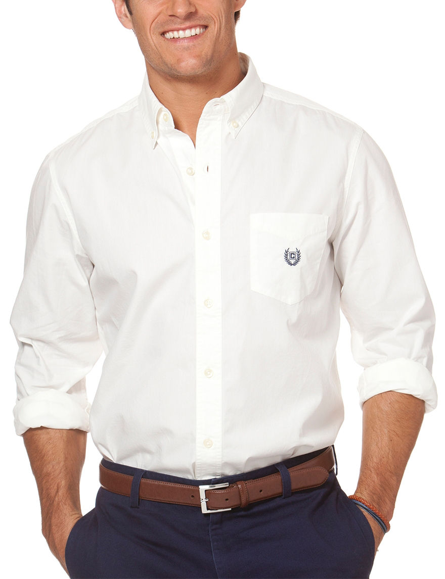 Chaps white poplin woven shirt stage stores for Chaps shirts on sale