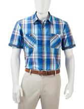 Weatherproof Multicolored Madras Plaid Woven Shirt