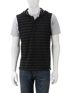 DKNY Jeans Black & White Stripe Hooded Tank
