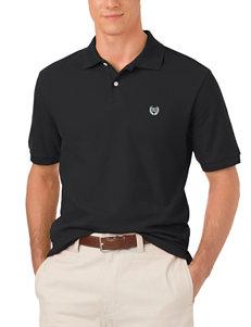 Chaps Black Knit Piqué Polo Shirt