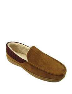 Chaps Cinnamon Microsuede Moccasin Slippers