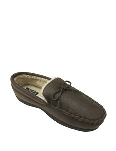 Chaps Brown Bomber Sherpa Moccasin Slippers