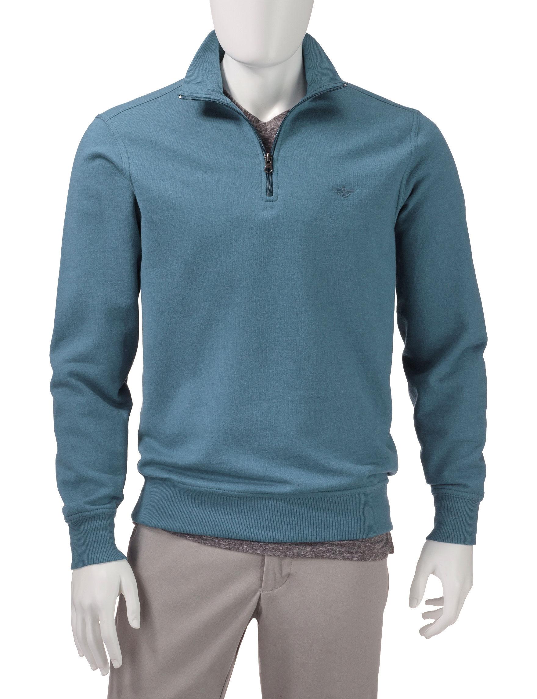 Dockers Green Sweaters Zip-Ups