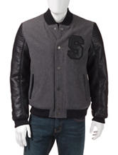 Sean John Heathered Gray & Black Varsity Jacket