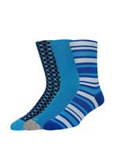 Joe's 3-pk. Turquoise & Blue Printed Crew Socks