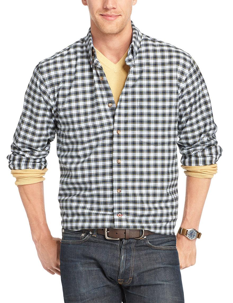 Izod Estate Blue Casual Button Down Shirts