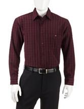 Haggar Plaid Print Woven Shirt