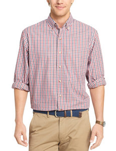 Izod Jester Red Casual Button Down Shirts