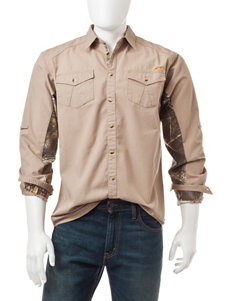 Realtree Silver Casual Button Down Shirts