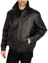 Excelled Big Lamb Leather Bomber Jacket