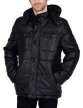 Excelled Faux Leather Channel Quilted Hoodie Jacket