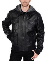 Excelled Big Faux Leather Hooded Bomber Jacket