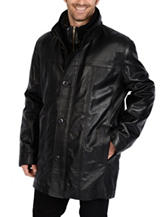 Excelled Big Leather Double Collar Car Coat