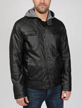 Excelled Faux Leather Hooded Moto Jacket