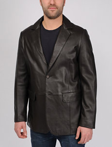 Excelled Tall Lamb Leather Button Blazer