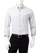 Tricot St. Raphael Steel Blue & White Medium Plaid Woven Shirt
