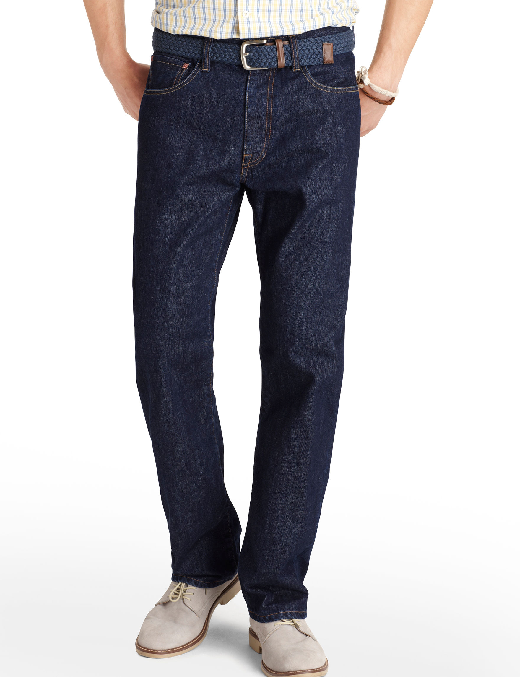 Brand New with tags Izod Comfort Stretch straight fit men's 38 x 34 Dark wash jeans see pictures for color Sits below waist Slim fit at seat and thigh Straight leg fabric stretches for maximum comfort Soft touch Unique finish is applied to give the garment a softer feel and greater comfort.