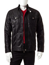 Whispering Smith Black Faux Leather Snap Pocket Bomber Jacket