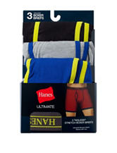 Hanes® 3-pk. Navy & Neon Ultimate Tagless Boxer Briefs