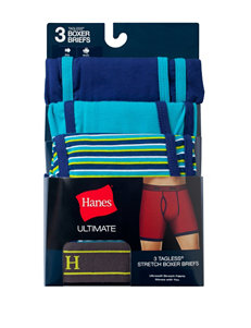 Hanes® 3-pk. Blue & Green Ultimate Tagless Boxer Briefs