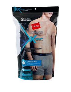 Hanes® 3-pk. Black & Grey Ultimate X-Temp Trunks