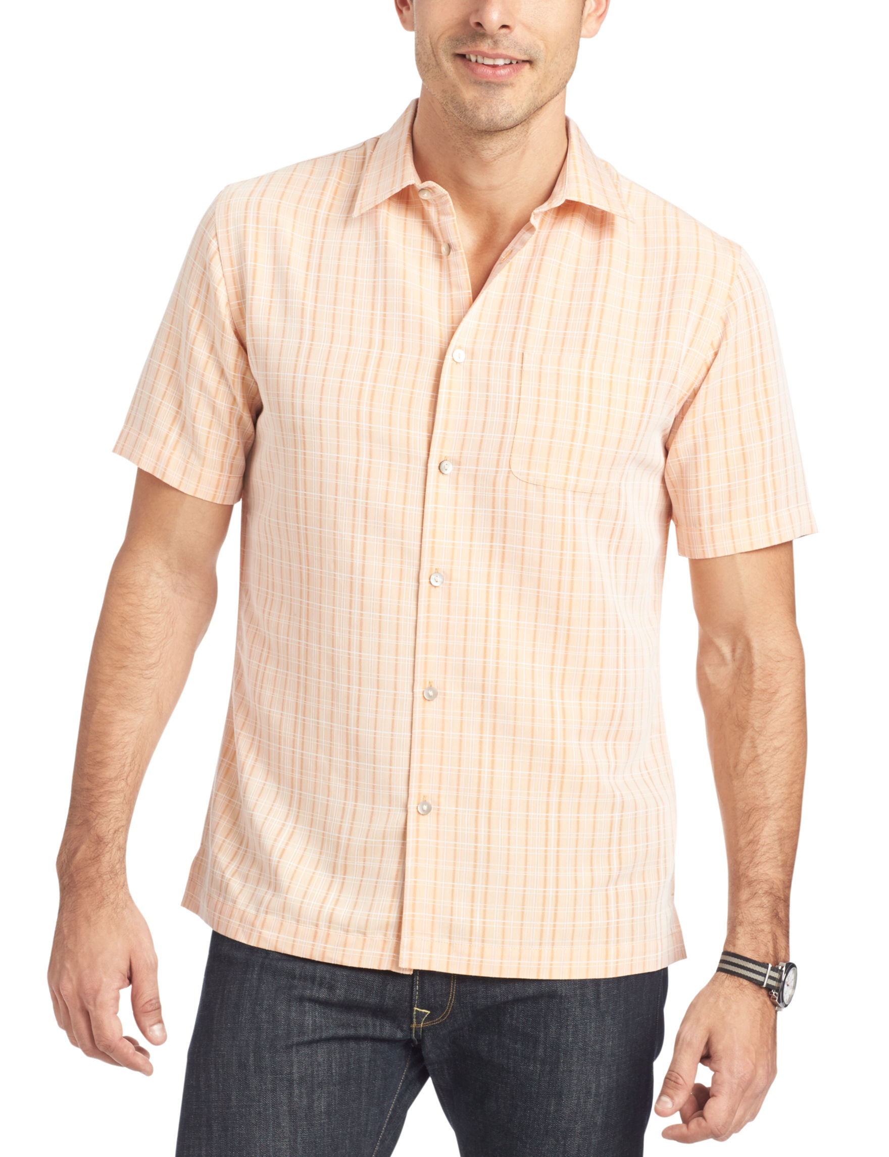 Van heusen tattersall plaid woven shirt stage stores for Van heusen plaid shirts