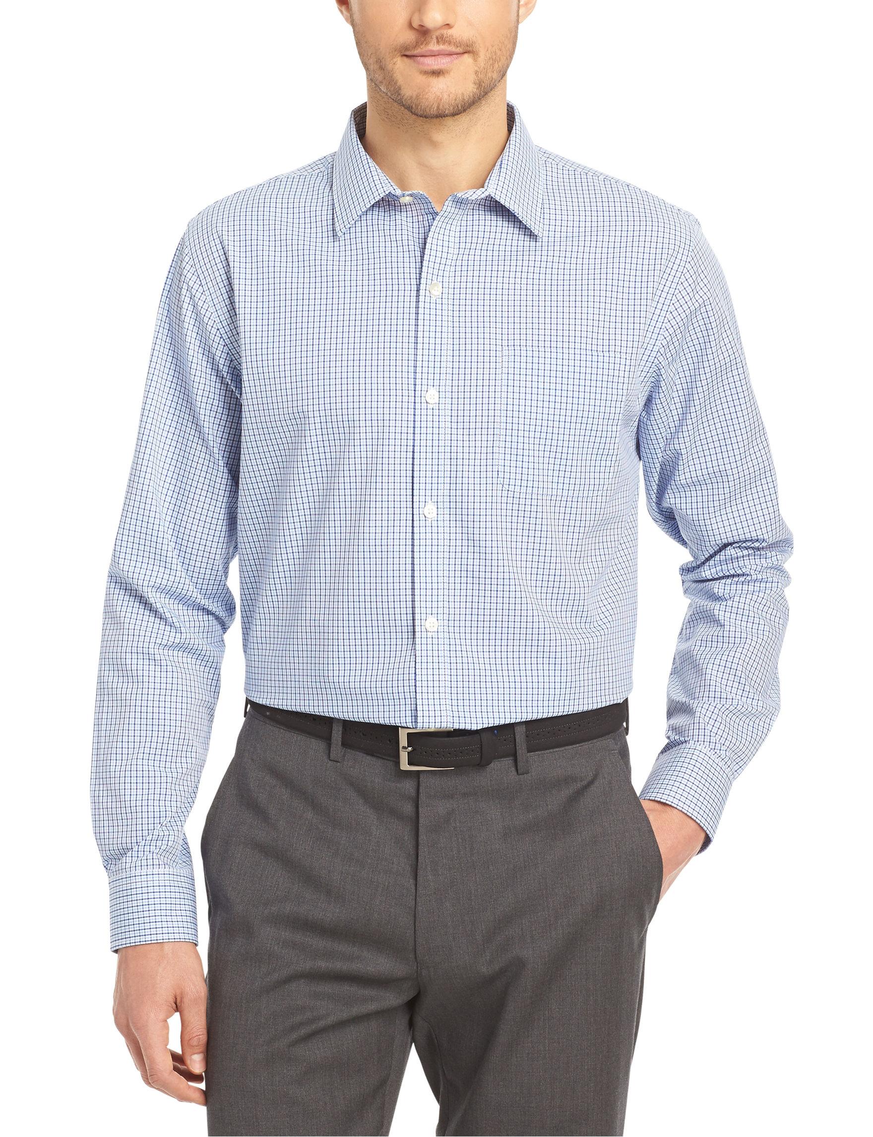 Van heusen mini check no iron stretch woven shirt stage for Van heusen iron free shirts