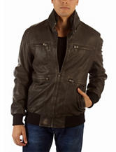 New Era Solid Color Aged Leather Jacket