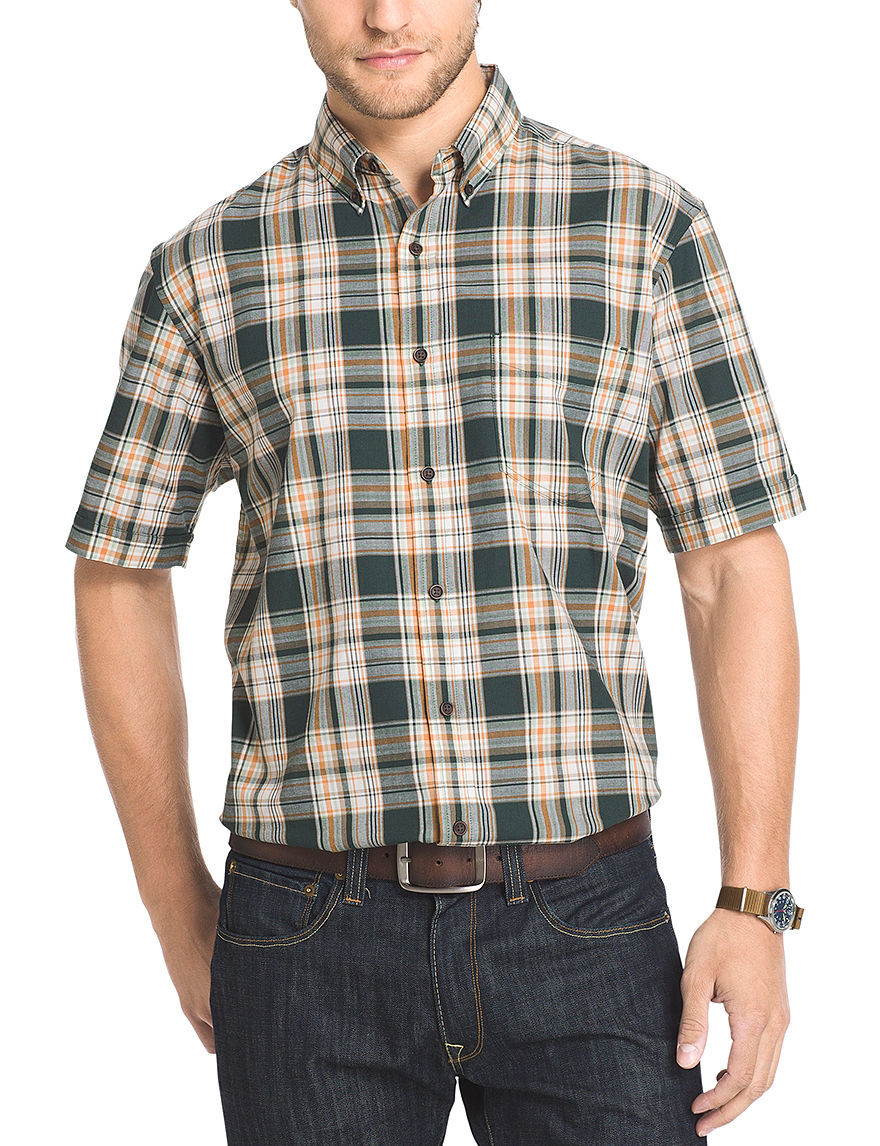 Arrow Dark Green Casual Button Down Shirts