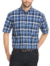 Arrow Men's Big & Tall Navy Blazer Plaid Sport Shirt