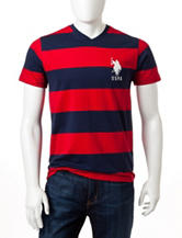 U.S. Polo Assn. 2-Tone Rugby Striped V-neck Shirt