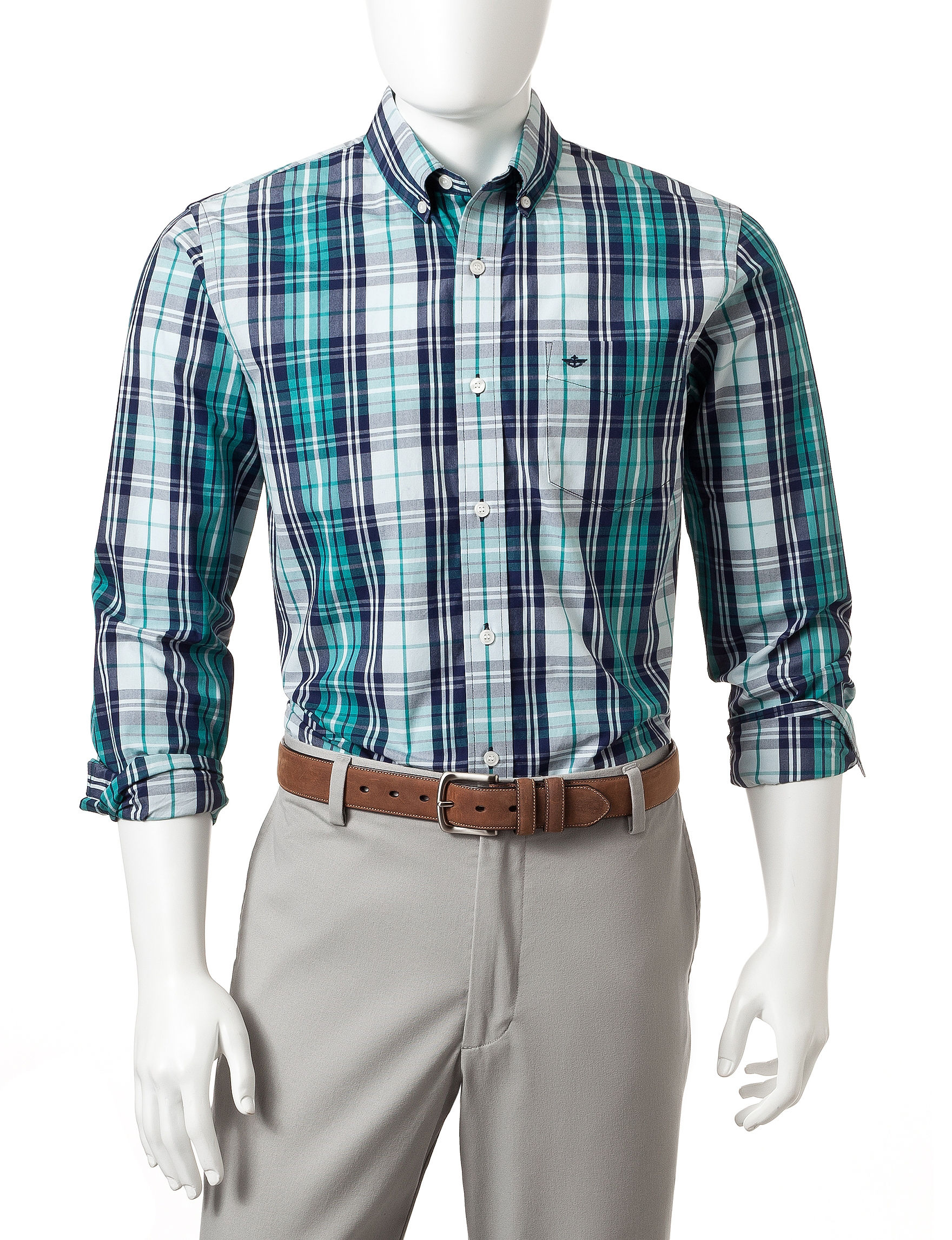 Dockers La Palma Turquoise Casual Button Down Shirts