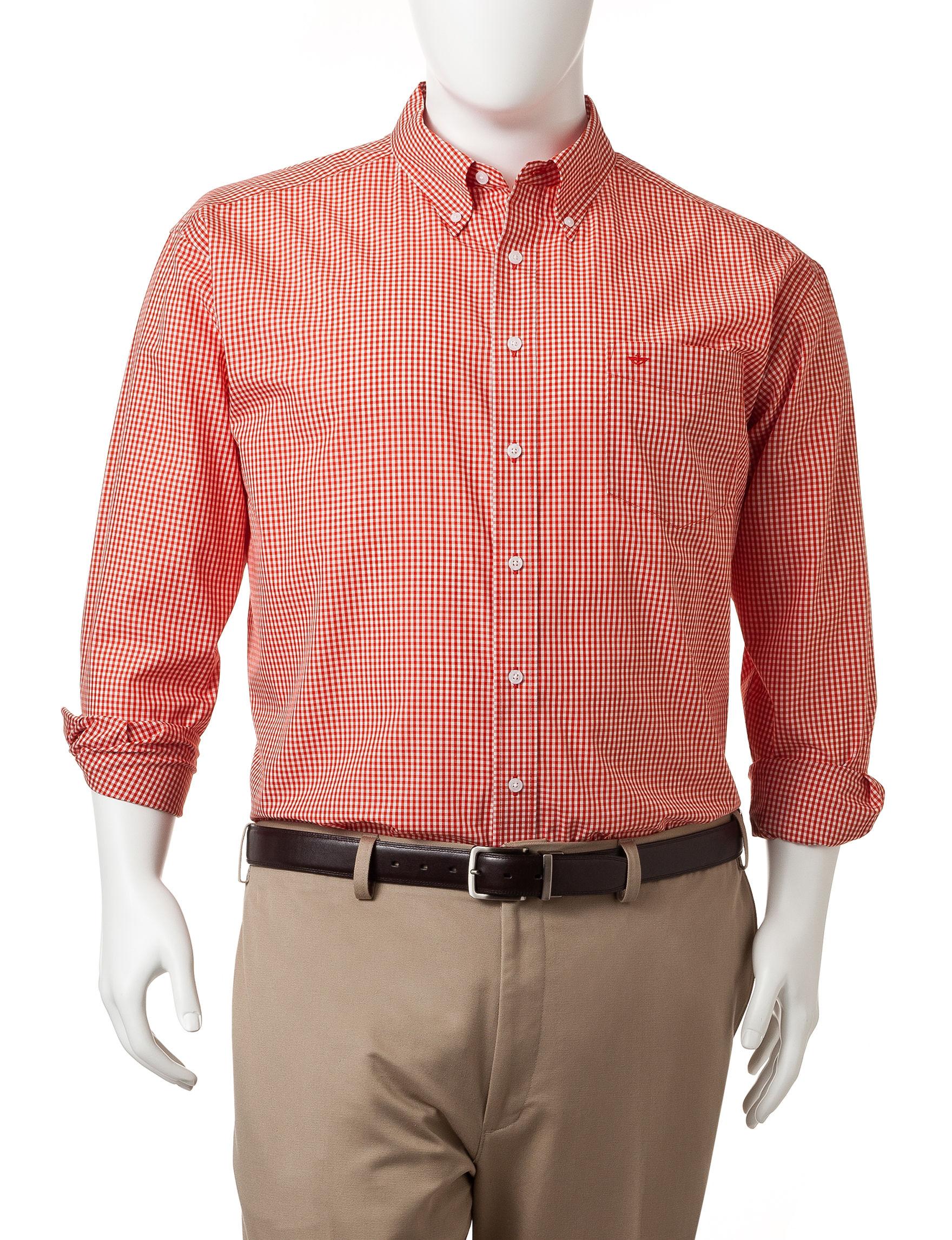 Dockers Orange Pop Casual Button Down Shirts