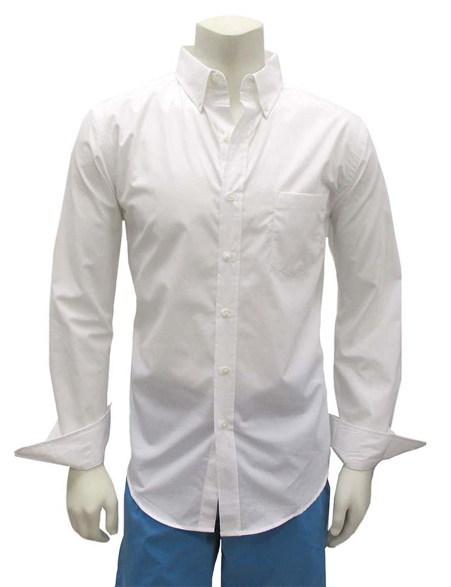 Chase Edward White Casual Button Down Shirts