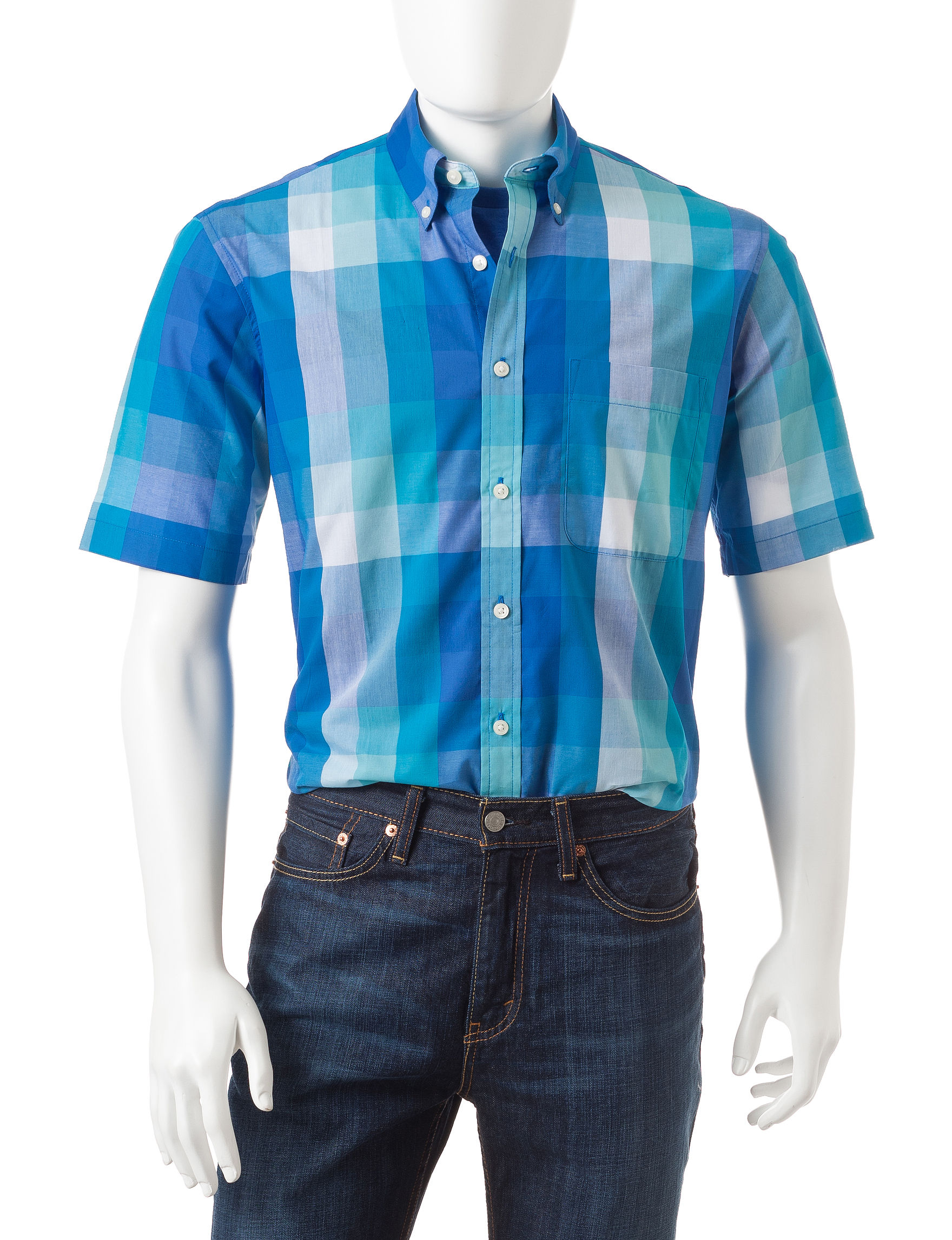 Sun River Caribe Blue Casual Button Down Shirts