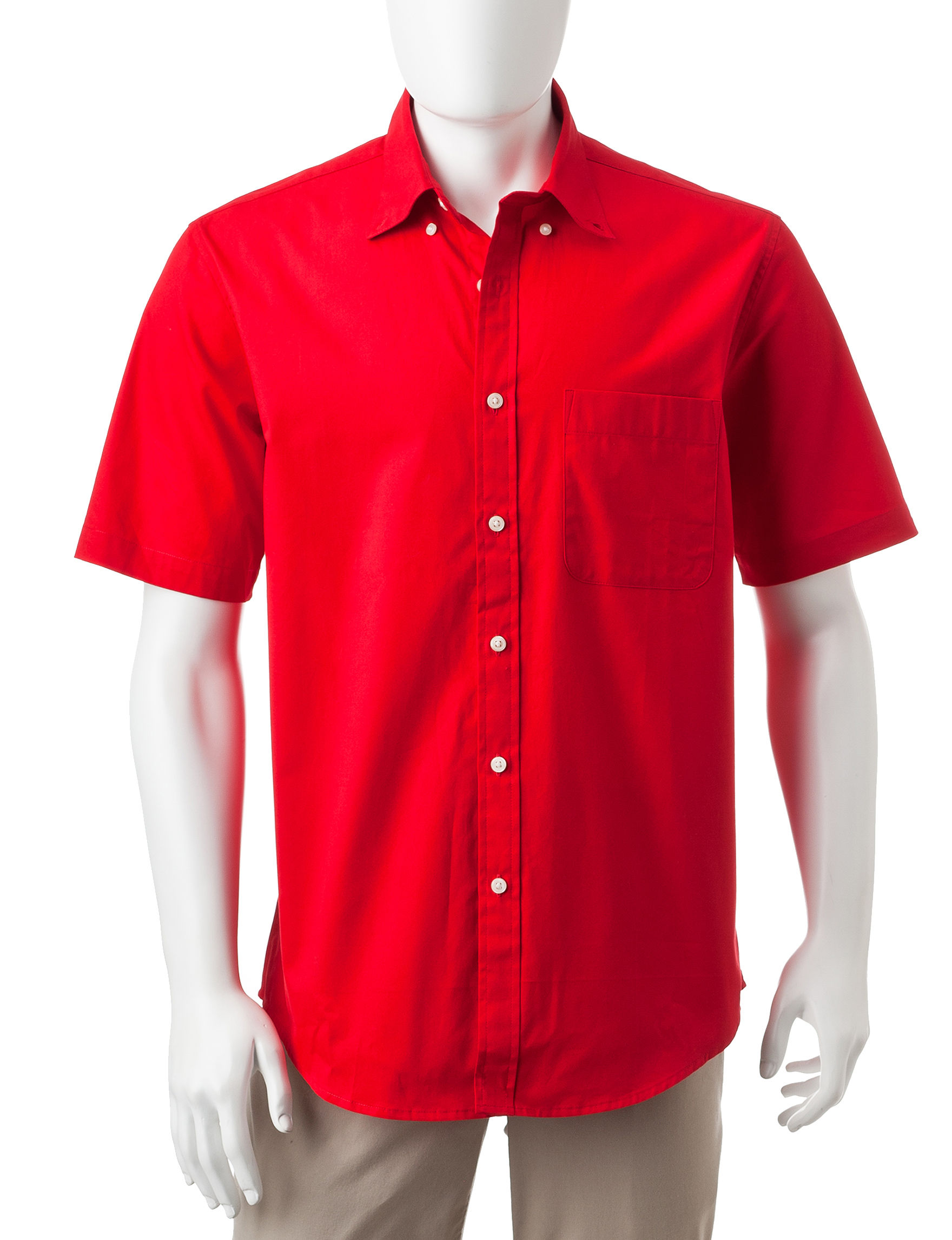 Sun River True Red Casual Button Down Shirts