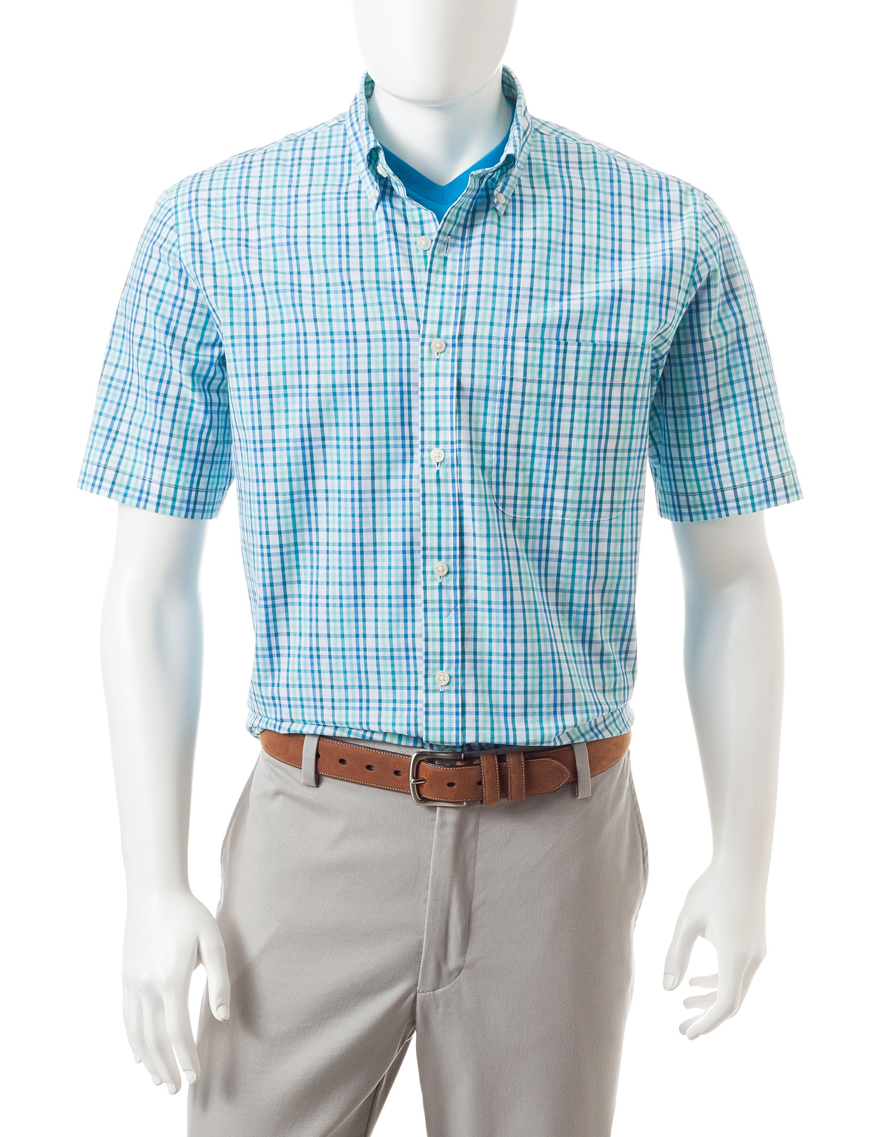Sun River Aqua Casual Button Down Shirts