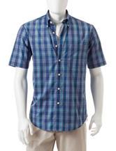 Sun River Navy & Turquoise Plaid Print Woven Shirt