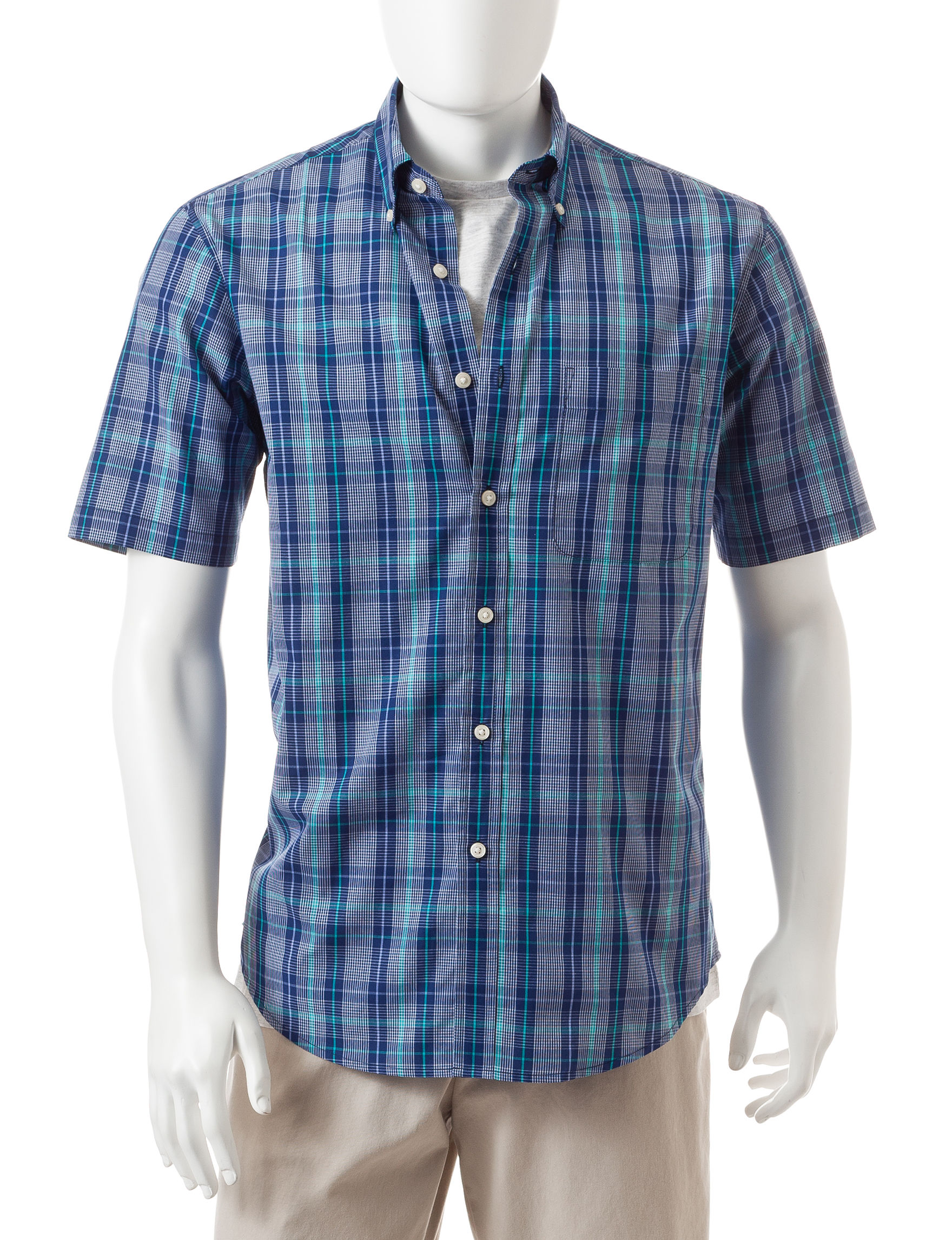 Sun River Pompadour Blue Casual Button Down Shirts