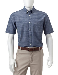 Sun River Dark Blue Casual Button Down Shirts