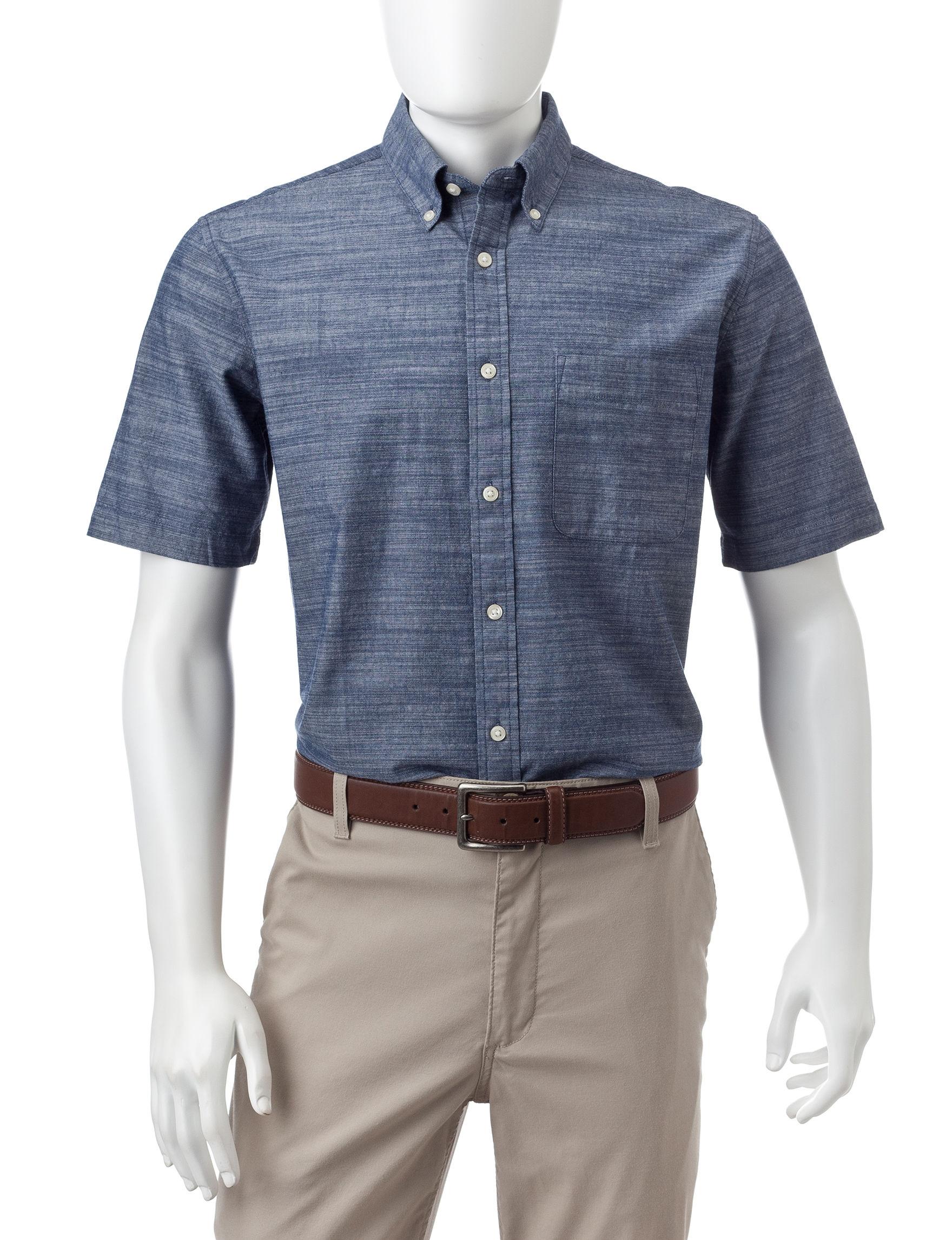 Sun River Dark Blue Casual Button Down Shirts
