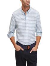 Nautica Blue Oxford Tattersall Woven Shirt