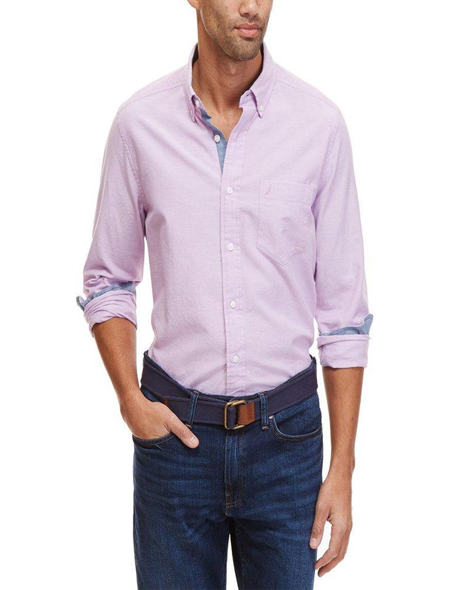 Nautica Lavender Casual Button Down Shirts