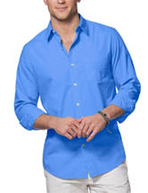 Chaps Solid Color Blue Woven Shirt