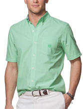 Chaps Solid Color Green Woven Shirt