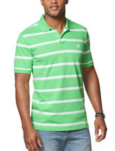 Chaps Green & White Stripe Print Polo Shirt