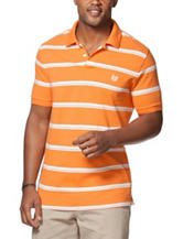 Chaps Orange & White Striped Print Polo Shirt